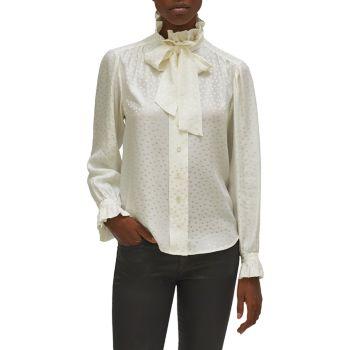 Шелковая блуза в горошек Loudette Illusion с завязками на воротнике EQUIPMENT