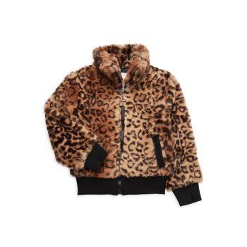 Куртка из искусственного меха с животным принтом для маленьких девочек Urban Republic