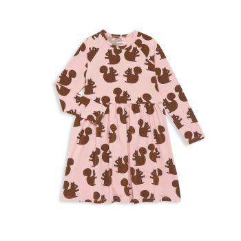 Маленькая девочка & amp; Платье для девочек с длинным рукавом и принтом в виде белки Mini rodini