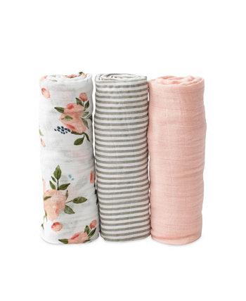 Набор из 3 пуховых одеял из хлопка с акварелью и розами Little Unicorn