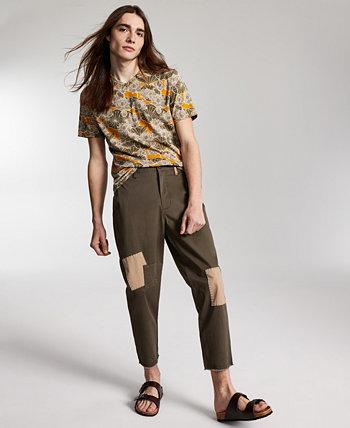 Мужские укороченные брюки чинос стандартного кроя в стиле пэчворк Mott Sun + Stone