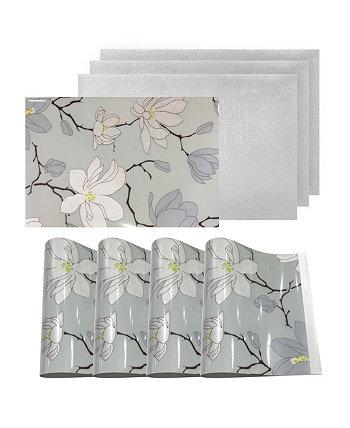Двусторонние металлические коврики Нескользящие салфетки для обеденного стола с цветочным рисунком Magnolia - набор из 4 Dainty Home