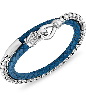 Зеленый кожаный браслет-обертка из нержавеющей стали (также в наличии из синей кожи и красной кожи), созданный для Macy's Esquire Men's Jewelry
