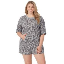 Plus Size Cuddl Duds® Elbow Sleeve Kangaroo Pocket Pajama Top & Pajama Boxer Shorts Sleep Set Cuddl Duds