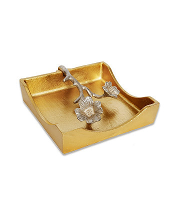 """7""""D Gold Square Napkin Holder With Silver Leaf Design Classic Touch"""