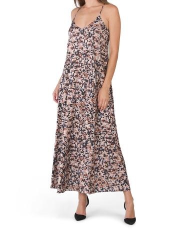 Printed Matte Charmuse Maxi Slip Dress Nicole Miller New York