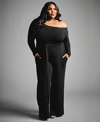 Trendy Plus Size Off-the-Shoulder Jumpsuit, Created for Macy's Nina Parker
