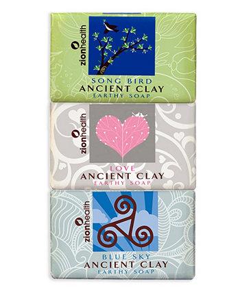 Певчая птица + любовное мыло + глиняное мыло с синим небом 6 унций каждая Zion Health