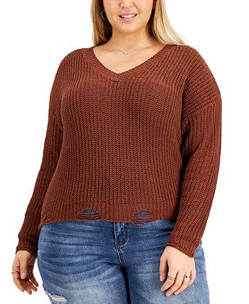 Модный рваный свитер на шнуровке больших размеров Derek Heart