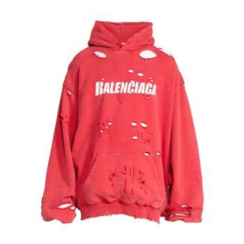 Худи с разрушенным логотипом Balenciaga