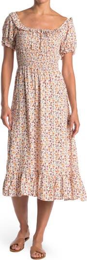 Платье-миди со сборками и цветочным принтом Spirit of Grace
