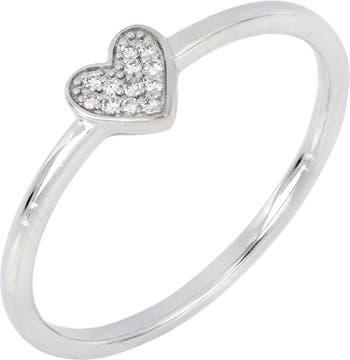 Icon Сердце Кольцо из белого золота 18 карат с бриллиантом - 0,04 карата Bony Levy