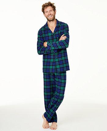 Подходящие мужские черные часы в пижамном стиле в клетку, созданный для Macy's Family Pajamas