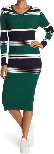 Полосатое платье миди с V-образным вырезом и длинными рукавами в рубчик ONE ONE SIX