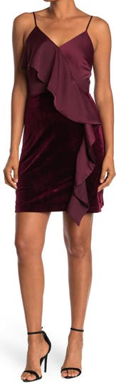 Velvet Ruffle Mini Dress Lucy Paris