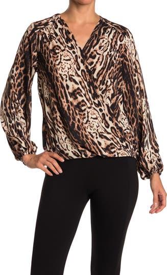 V-Neck Long Sleeve Leopard Print Curved Hem Top CATHERINE Catherine Malandrino