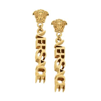 Серьги-подвески с золотым логотипом Versace
