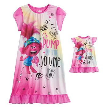 Girls 4-8 DreamWorks Trolls World Tour Poppy Dorm Gown & Matching Doll Gown Licensed Character