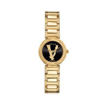 Часы Virtus Mini Goldtone из нержавеющей стали с браслетом Versace