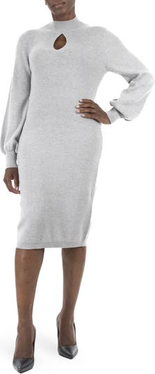 Mock Neck Cutout Sweater Dress Nina Leonard