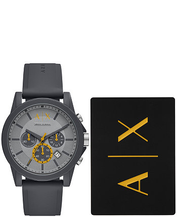 Мужские часы AX с хронографом на сером силиконовом ремешке с багажной биркой 44 мм Armani Exchange