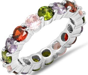 Кольцо Eternity с покрытием из белого золота 18 карат HMY Jewelry