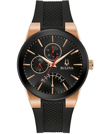 Мужские часы Futuro с черным силиконовым ремешком 41 мм Bulova