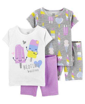 Хлопковые пижамы с мороженым для маленьких девочек, 4 шт. Carter's