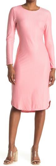 Трикотажное платье в рубчик с длинными рукавами NSR