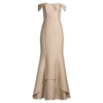 Платье с открытыми плечами Aidan Mattox
