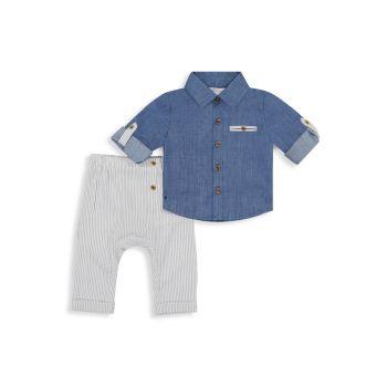 Двухкомпонентная рубашка из шамбре и amp; Комплект брюк Miniclasix