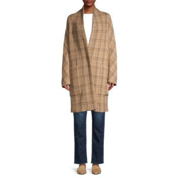 Пальто с открытой передней частью в клетку Vince