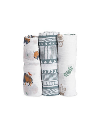 Хлопковое муслиновое одеяло Bison из 3 предметов Little Unicorn