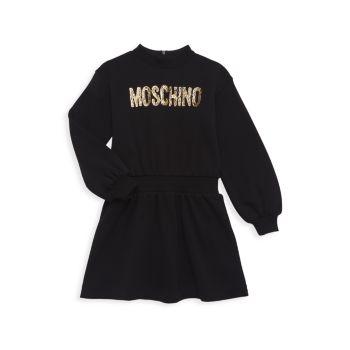 Маленькая девочка & amp; Платье для девочек с металлическим логотипом Moschino