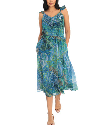 Petite Floral-Print Chiffon Midi Dress London Times