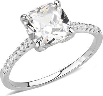 Помолвочное кольцо из латуни с родиевым покрытием Pave CZ с тонкой полосой Covet