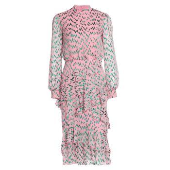 Платье Isa из шелкового жоржета с рюшами и каплевидным принтом SALONI