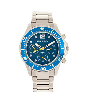 Кварцевые Pegasus Blue Face Многофункциональные часы из серебряного сплава 46 мм Breed