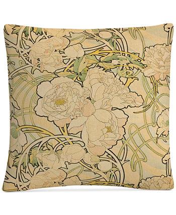 Декоративная подушка Alphonse Mucha Peonies 16 x 16 дюймов BALDWIN