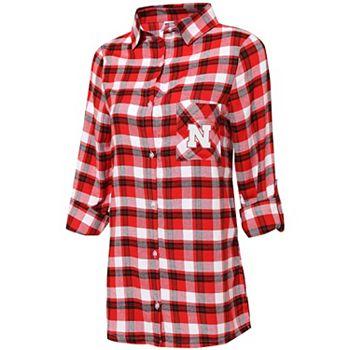 Women's Concepts Sport Scarlet/Black Nebraska Cornhuskers Plus Size Piedmont Flannel Long Sleeve Button-Up Nightshirt Unbranded
