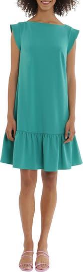 Платье прямого кроя из крепа с рукавами-лодочкой и оборками Maggy London