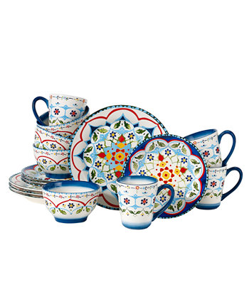 Majolica 16-PC Dinnerware Set,Service for 4 Over and Back