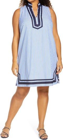 Stripe Trim Sleeveless Shift Dress Eliza J
