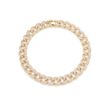 Armure Goldtone & Pavé Chain-Link Collar Necklace Fallon