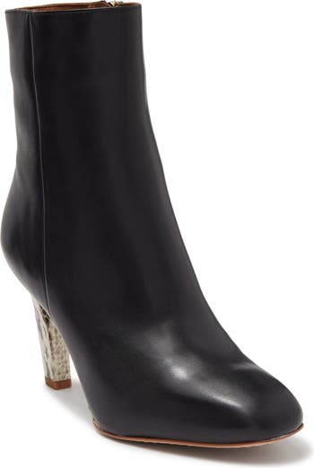 Кожаные ботинки на шпильке с тиснением под змеиную кожу REISS