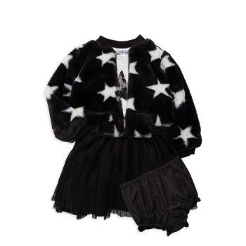 Куртка, платье и куртка из 3-х частей из искусственного меха для маленьких девочек; Комплект шароваров Pippa & Julie