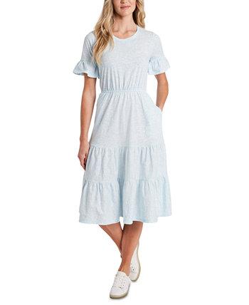 Платье с оборками и принтом CeCe