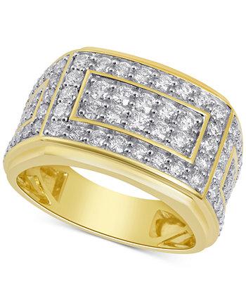 Мужское кольцо с бриллиантами в виде кластера (2 карата) из золота 10 карат Macy's