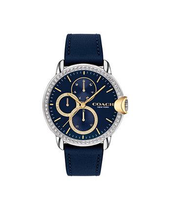 Женские часы Arden с синим кожаным ремешком 38 мм COACH