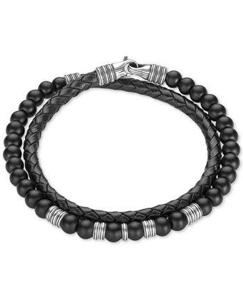 Браслет с черным кожаным браслетом из оникса (6 мм) из стерлингового серебра, созданный для Macy's Esquire Men's Jewelry